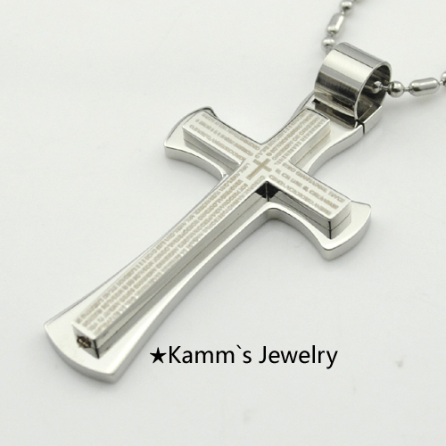 Promotion!!!Gold Bible Scripture Cross Pendant Necklace Mens Silver Stainless Steel biblia Jewelry Free Shipping Wholesale KP409(China (Mainland))