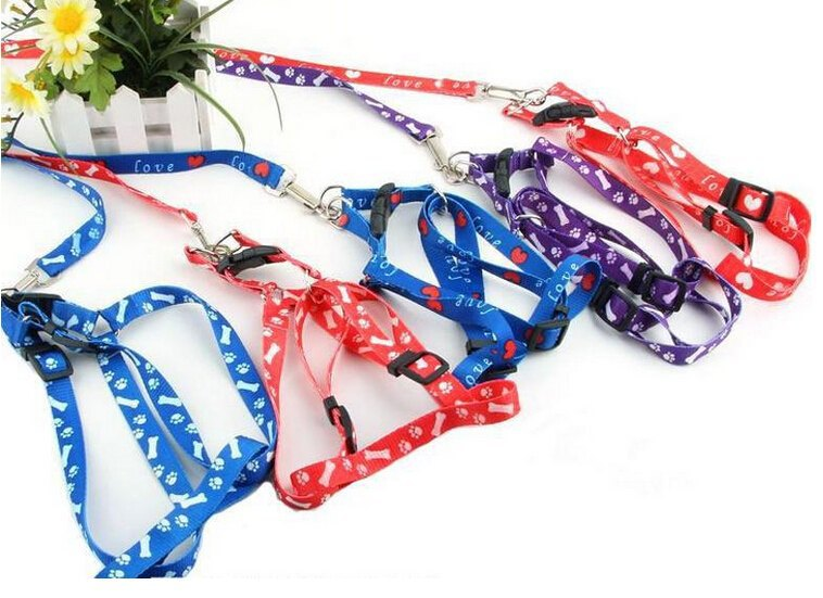 Hot Small Dog Pet Puppy Cat Adjustable Nylon Harness with Lead Pet Cat Doggie Puppy Leashes Lead(China (Mainland))