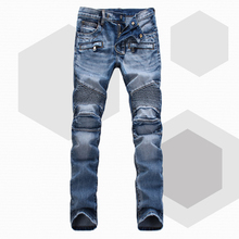 Men Brand Paris Runway Stretch Jeans, Washed Acid Light Blue Biker Jeans Men Plus Size 28-38(China (Mainland))
