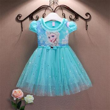 Lace Sequins Princess Anna Elsa Dress Snow Queen Halloween Party Role-play Costume Girl Dress Summer Brand Toddler Girls Clothes