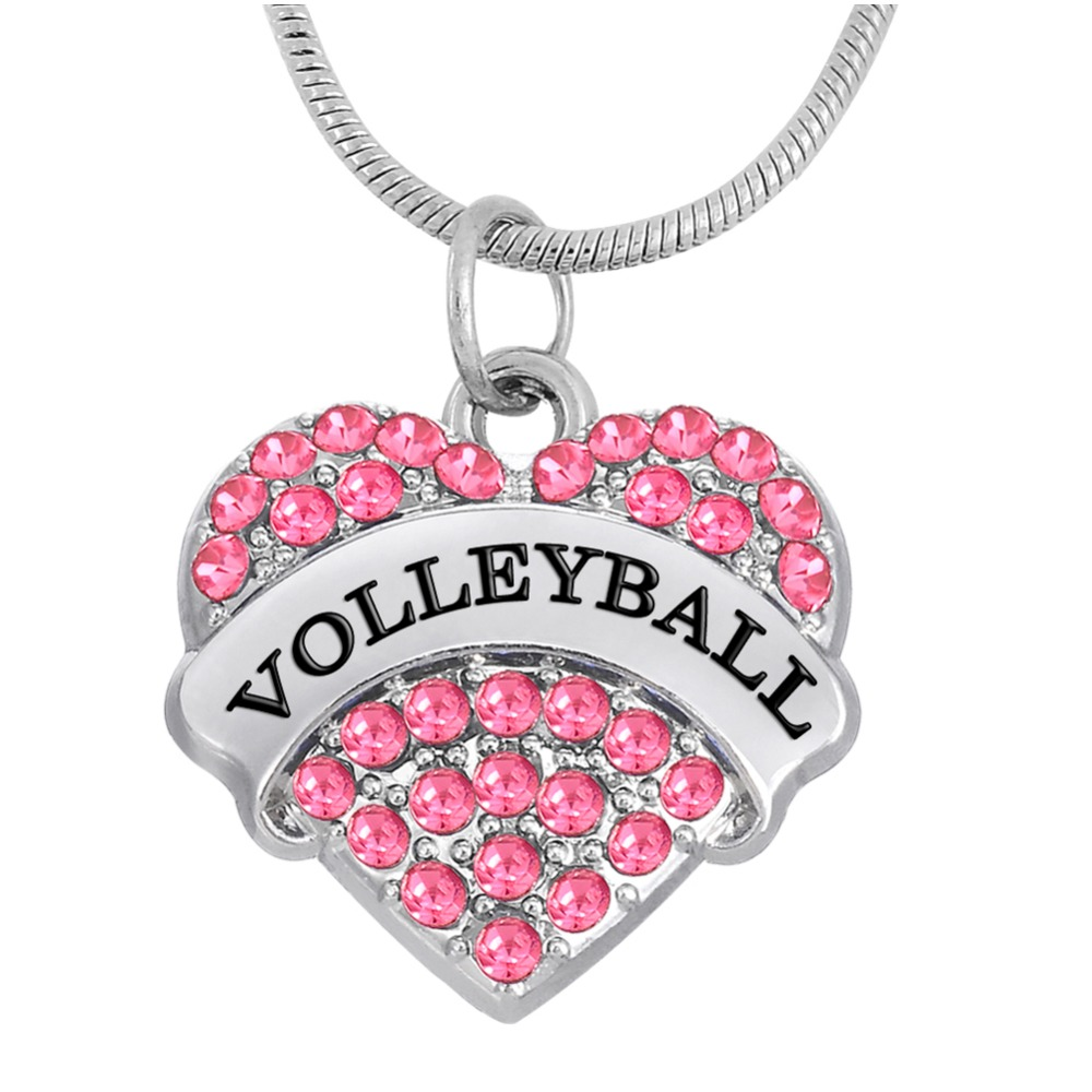 Volleyball Basketball Softball Soccer Dance Crystal Heart Pendant Necklace Sports Jewelry for Women And Girls(China (Mainland))