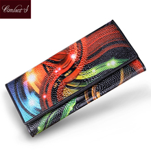 Buy Women Wallets Genuine Leather Ostrich Medium-Long Organizer Wallet Plastic Surface Vintage Lady Clutch Carteira Feminina Purse for $19.33 in AliExpress store