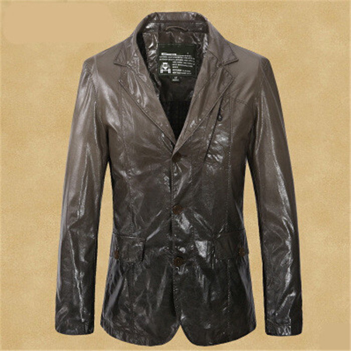 2015 New Arrival Men PU Jackets Coats Leather Jacket Outerwear Gradient Color Blazers Plus Size Chinese Cheap Clothes A790(China (Mainland))