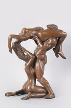 Bronze Statues Lust  Women and Man  Sexy 3P Sculptures  Lure  Figurines Gifts Art  statues for Decoration(China (Mainland))