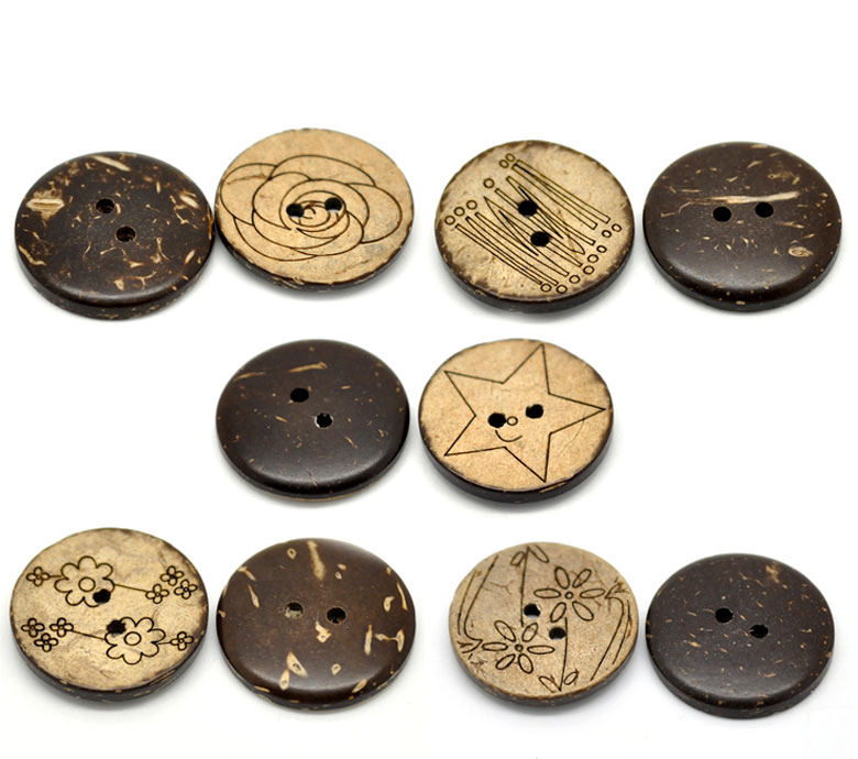 "New 2x30 Brown Mixed Pattern Coconut Shell 2Holes Sewing Buttons 25mm 1"" B20389 Over $110 Free Express(China (Mainland))"