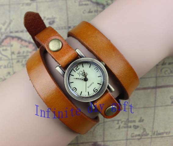 Dark brown leather watches, men and women of the appropriate harmonic bracelet watches(China (Mainland))