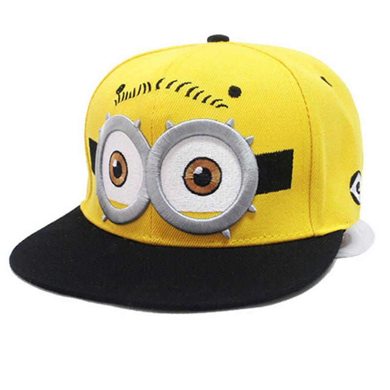 2016 new baby cute yellow Minions Baseball Cap Children Yellow Cartoon Film Canvas Flat Hip-hop Hat(China (Mainland))
