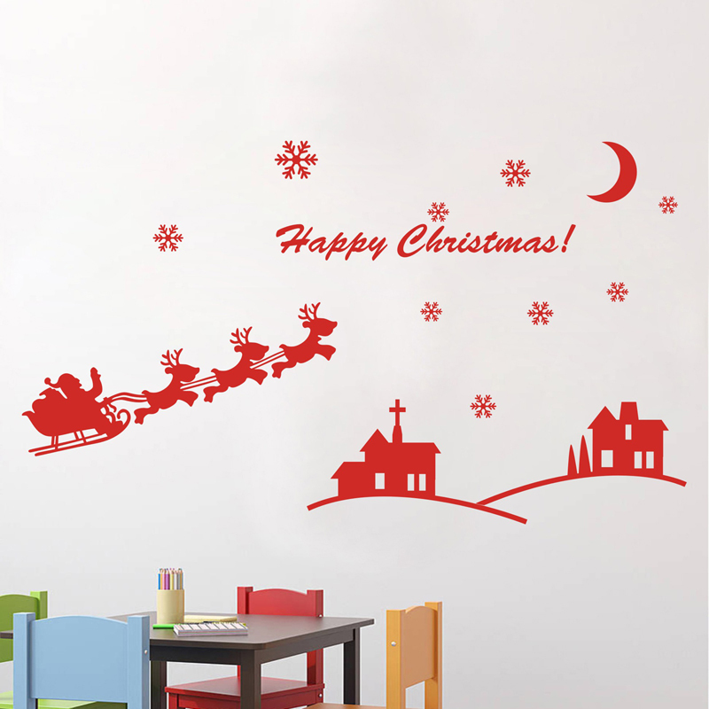 Merry christmas mirror decorative window wall sticker for for Outdoor christmas wall decorations