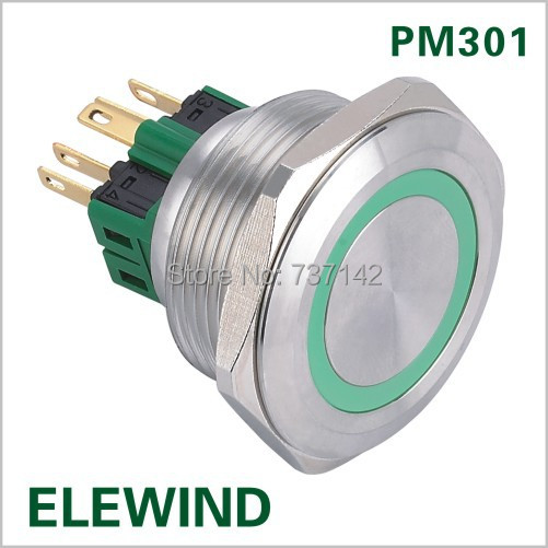 ELEWIND 30mm Ring illuminated push button switch(PM301F-11E/G12V/S)<br><br>Aliexpress