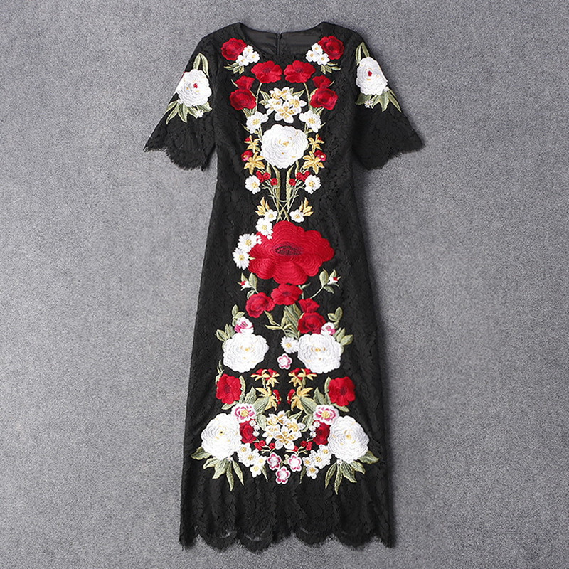 Summer Women Elegant Vintage Exquisite Luxury Embriodery Black Lace Hollow Out Runway Sheath Dress High QualityОдежда и ак�е��уары<br><br><br>Aliexpress
