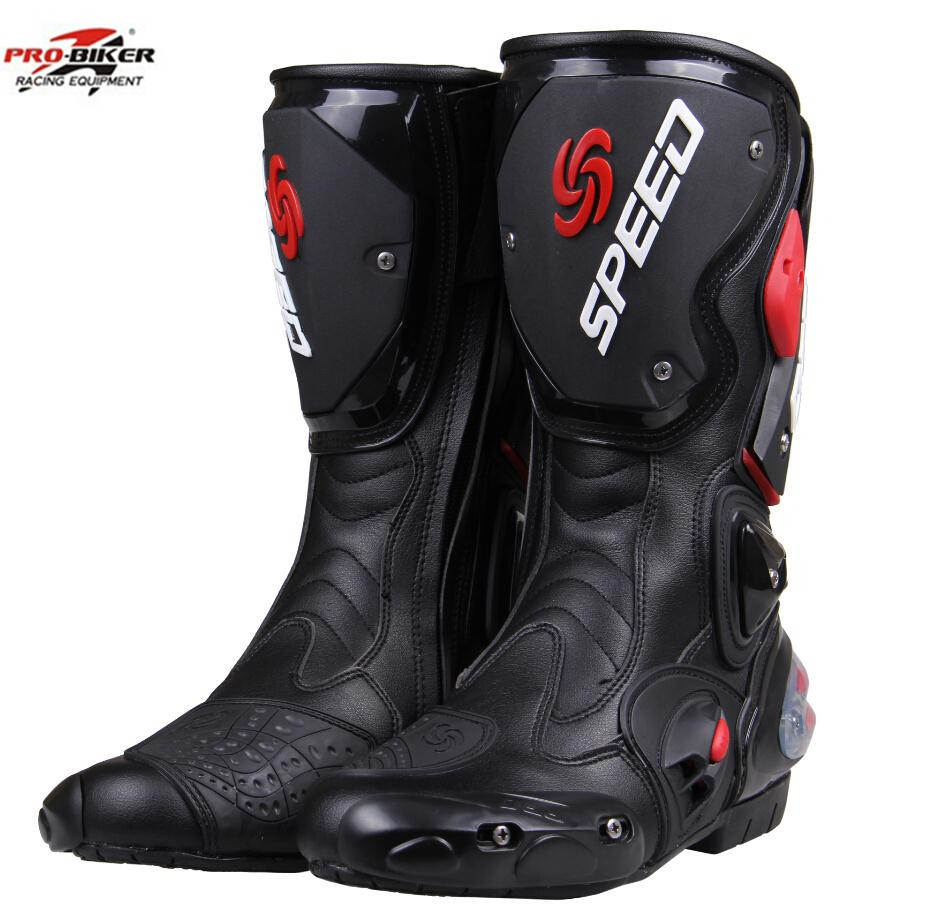 PRO-BIKE fashion leather motorcycle boots motorcyle Racing Motocross Boots BLACK RED WHITE(China (Mainland))