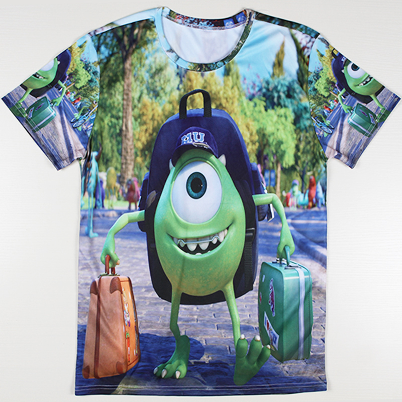 Free Shipping Men Summer New Tshirts Funny Cartoon Monster University Printing T-shirts How To Train Your Dragon Casual T Shirts(China (Mainland))