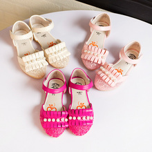 Children font b shoes b font girls sandals Pearl lace net child font b shoes b