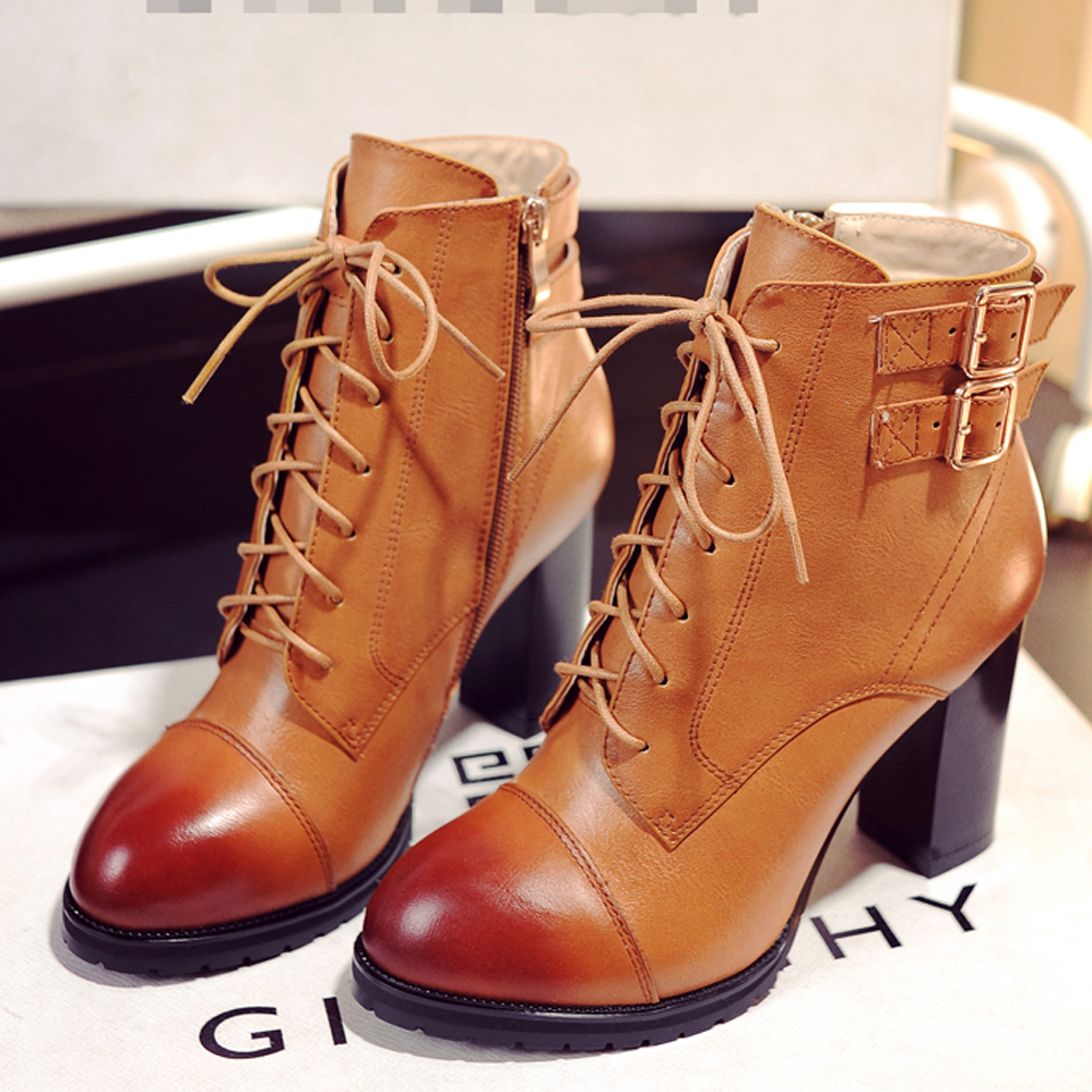 Women Boots Ankle Boots Women Genuine Leather Fall Thick High Heels Boots Ladies Fashion Lace Up Size 34 Buckle Brown Shoes 36A0