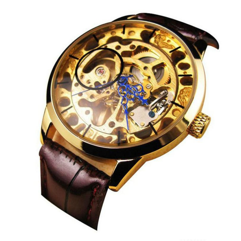 Top relojes hombre Men Mechanical Skeleton Watch Hand Wind Up Gold Dial Brown Leather Strap  OCT<br><br>Aliexpress