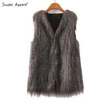 Simplee Apparel peacock feather faux fur vest sleeveless coat Autumn winter women fashion hairy warm slim waistcoat for fall(China (Mainland))