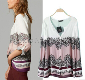 2015 New Fashion Brand za Women Vintage Sexy V neck Position Flower Print Blouse lady Long Sleeve Cotton Casual Shirt Blouse(China (Mainland))