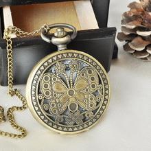 New Fashion Vintage Classic Bronze Buttery Pocket Watch Quartz Watch pocket fob women casual watch Clock Hours PB123(China (Mainland))