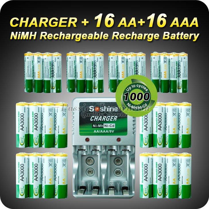 1 Set Rechargeable Battery AA/AAA Batteries 16+16 AA AAA NiMH 1.2v 3000mAh 1350mAh Battery + Charger+Free Shipping(China (Mainland))
