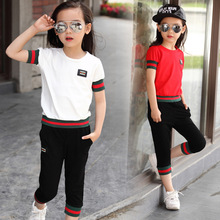 2016 New girl's casual Summer clothes,children clothing sets, cotton t-shirt +half pants 2pieces, teenager sports suits 110-160(China (Mainland))