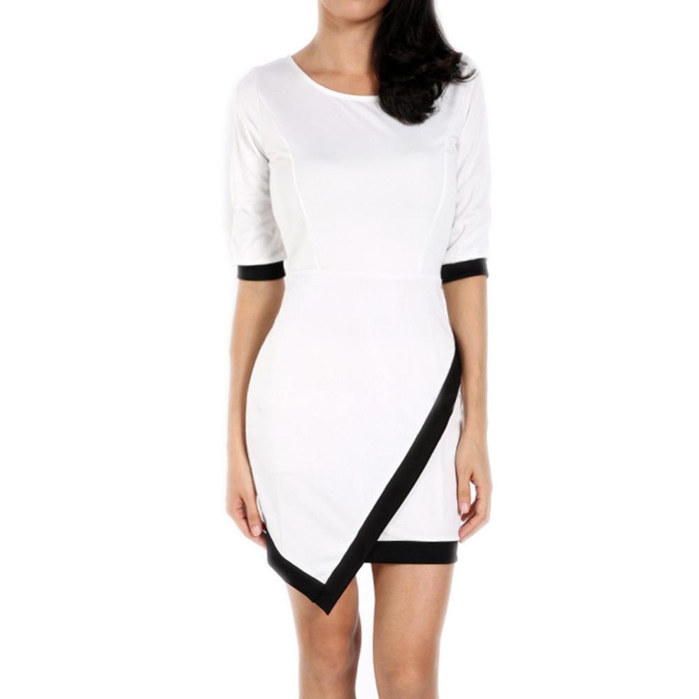 2015 Women Vestidos Casual Bandage Bodycon Dress Ladies O-neck Half Sleeve Asymmetric Patchwork Elegant Short Mini Free Shipping(China (Mainland))