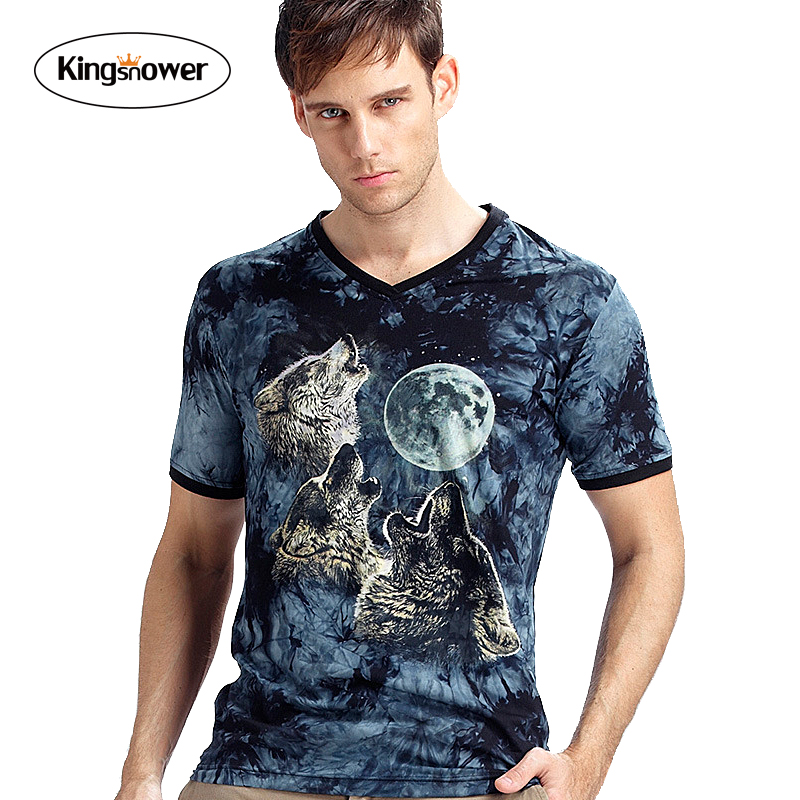 Tie-dye 2016 Summer Men T-shirts 3D Wolf Printed Luminous V-neck Fashion Men's Shirt Brand Men's Tops Shirt J6168(China (Mainland))