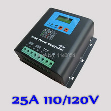 25A 110V or 120V Solar Charge Controller,110V or 120V Battery Regulator 25A for 3000W PV Solar Panels Modules, LED&LCD Display