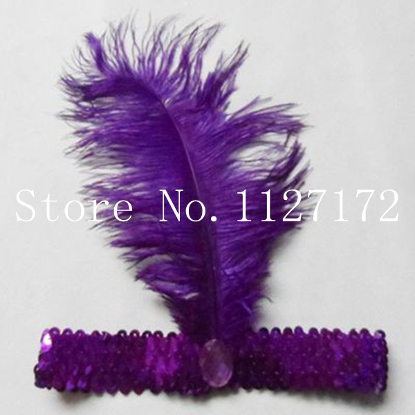 Freeshipping Paillette Sequin 5pcs/lot Ostrich Feather Headwear Hair Band Headband purple colors(China (Mainland))