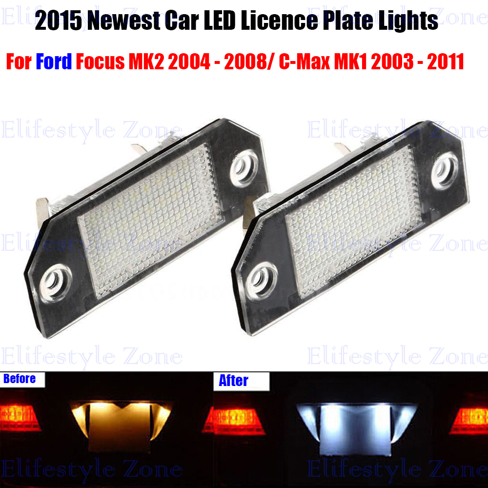 2 x LED Number License Plate Lamps OBC Error Free 18 LED For Ford Focus MK2 C-Max MK1(China (Mainland))
