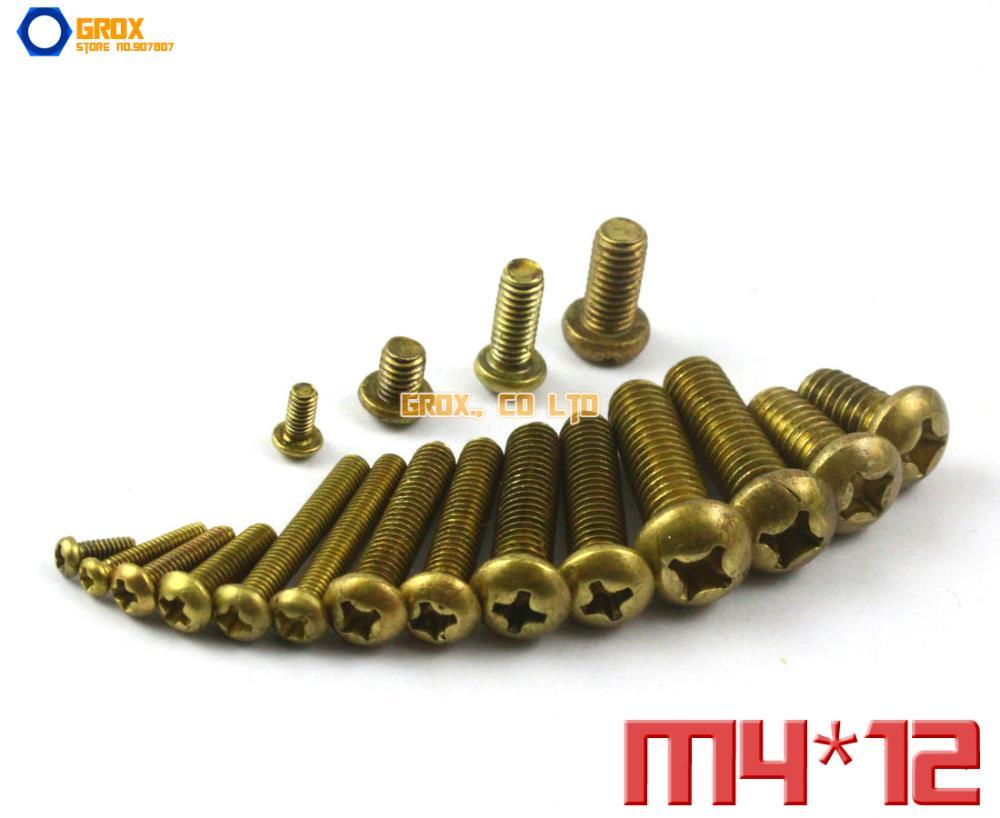 100 Pieces M4 x 12mm Brass Phillips Pan Head Machine Screw<br><br>Aliexpress