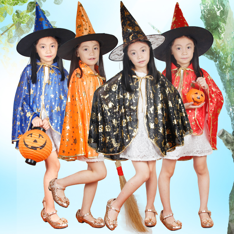 Free delivery Boy Girl Kids Children Halloween Costumes Witch Wizard Cloak Gown Robe and Hat Cap Stars Fancy Cosplay Children(China (Mainland))