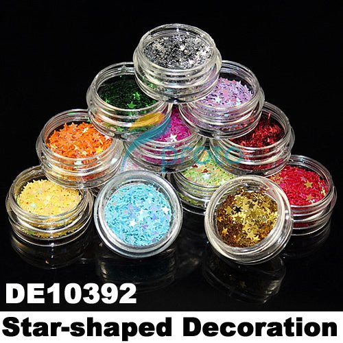 12 Pots of Colorful Shiny Star-shaped Decoration for Nail Art 3D Fasle Nail Decorations Acrylic Nails SKU:D0040