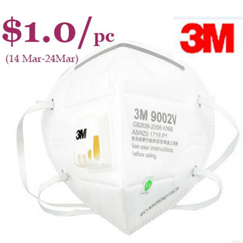 3M 9002v dust masks pm2.5 antimist breathable CoolFlow safety folded mask AU approval dust mask worker protection<br><br>Aliexpress