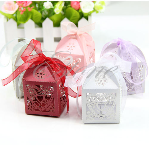 50pcs Love Heart Laser Cut Gift Candy Boxes Wedding Party Favor With Ribbon(China (Mainland))