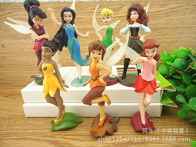 Free Shipping 150set/lot( 7pcs/set) PVC Tinkerbell Fairy Toy Cartoon Tinker Bell Figures Princess Doll For Kids(China (Mainland))