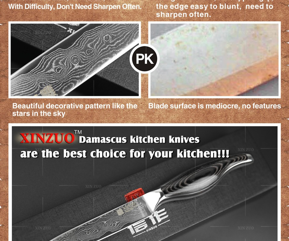 "Buy XINZUO 5"" utility knife Japanese VG10 Damascus kitchen chef knives Utility paring knife stainless steel handle FREE SHIPPING cheap"