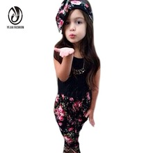 3 Pcs Baby Girls Floral Print T-shirt Pants Hair Band Set Kids Summer Outfits Sets Toddler Girl Clothing Baby Girls Clothes