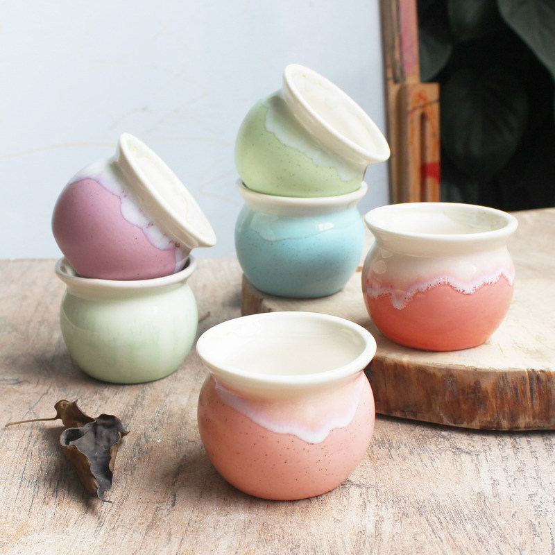 Hotsales Macarons color glazed ceramic flower pots(China (Mainland))