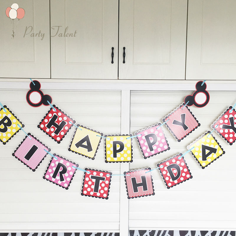 DIY Mickey Mouse Happy Birthday Letter Party Bunting Banner 15 Flags for Kids Birthday Party Favors Decoration Baby gift(China (Mainland))