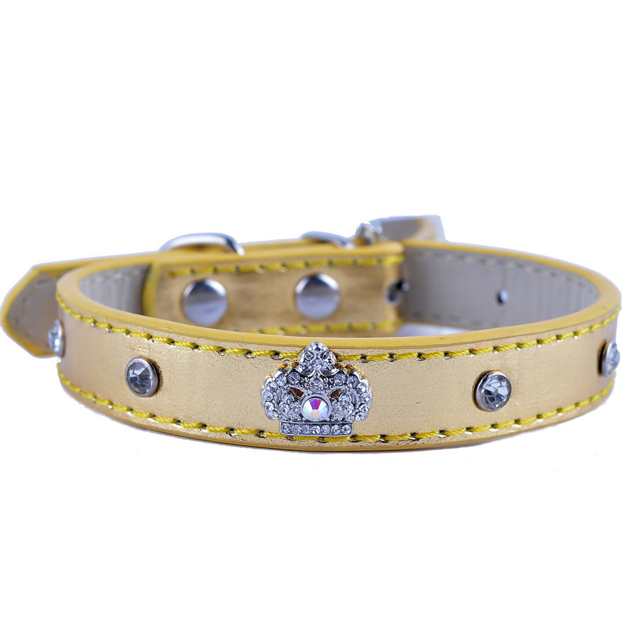 Fashion Leather Dog Collar Rhinestones Accessories Diamante Crown Charm For Collar Necklace Small Pet Dog Supplies(China (Mainland))