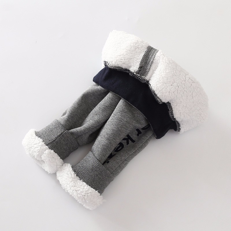 Autumn and Winter With Velvet Boy Pants Cashmere Keep Warm Trousers