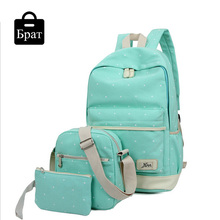New casual women backpack canvas Korean school bags travel backpacks for teenage girls preppy style dots women bag set(China (Mainland))