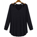 2016 New Arrival Women Loose Off shoulder Long Sleeve V neck Top Basic T shirt