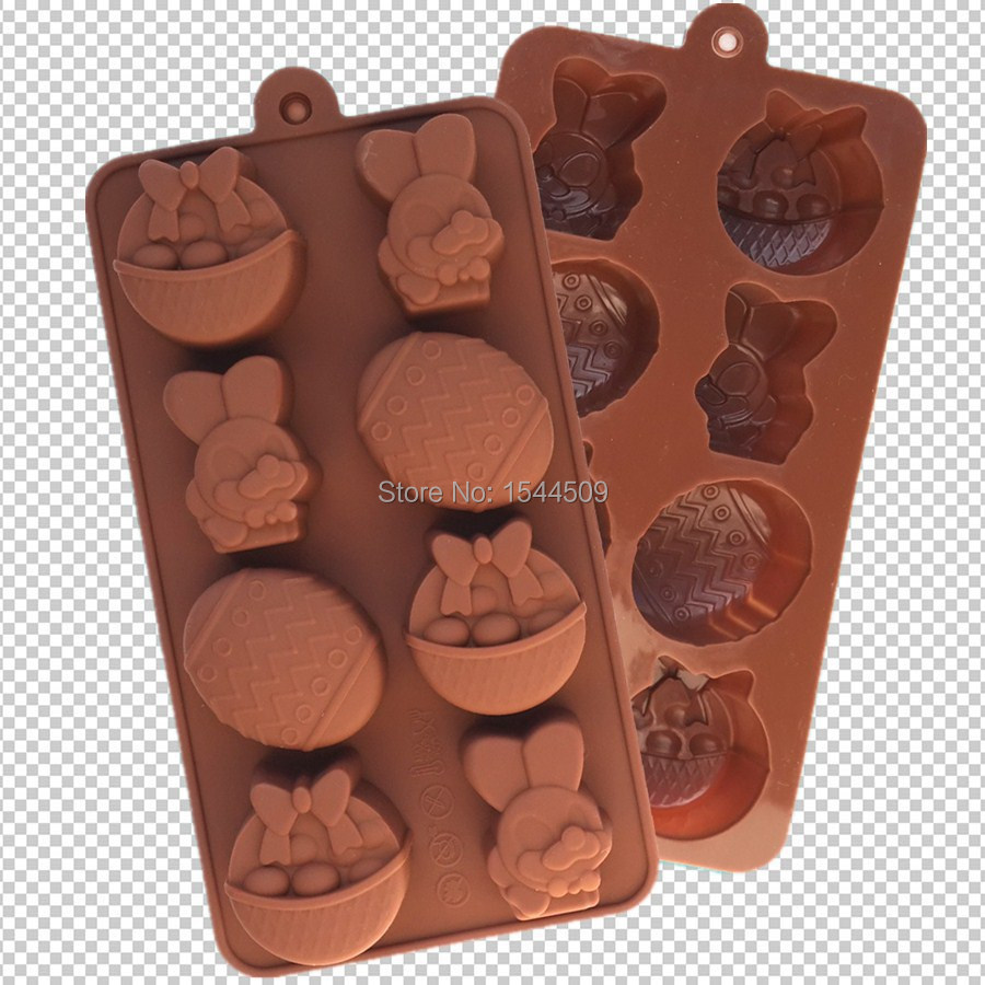 8 Holes Easter bunny Fruit Basket Liquid state modeling chocolate silicone cake mold silicon soap molds Bakeware Tools(China (Mainland))