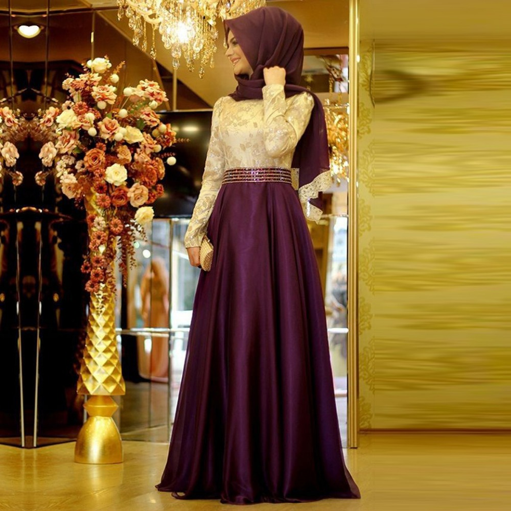 Real Malaysia Purple Long Sleeve Muslim Lace Evening Dresses 2016 Beaded Waist dubai kaftan Prom Gowns vestido de festa SME2(China (Mainland))