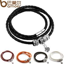 Nuovo arrivo argento di fascino black leather wrap bracelet per le donne cinque colori catenaccio del magnete regalo di natale dei monili PI0311(China (Mainland))