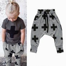 New Toddler Kids Boy Girl Casual Cotton Geometric Pattern Bottoms Harem Pant Trousers(China (Mainland))