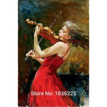 Modern Art Skilled Artist Handmade High Quality Knife Beauty Oil Paintings Lady violin musical instrument Painting On Canvas(China (Mainland))