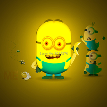 Wholesale 20pcs/lot  The Minions Despicble Me Light Sensor LED Wall Night Light Lamp with Stickers for Kids Room(China (Mainland))