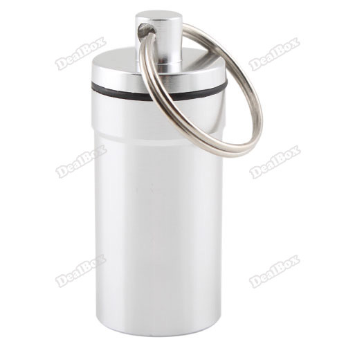 Leonaboy Global!! Pill Box Case Bottle Holder Aluminum Container Keychain Unique!(China (Mainland))